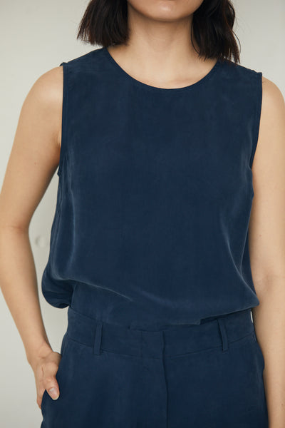 Shell Top Washed Cupro Top Navy