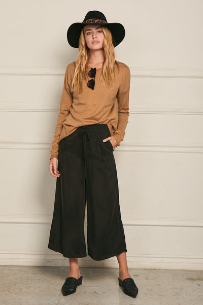 Wide Leg Pant Washed Cupro - Black
