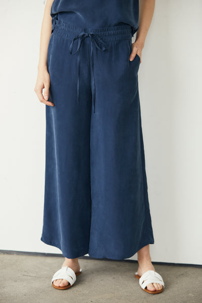 Wide Leg Pant Washed Cupro -Navy