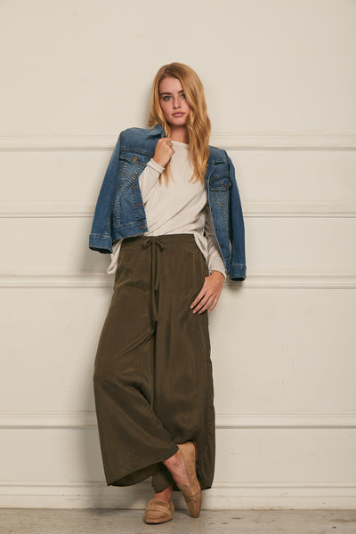 Wide Leg Pant Washed Cupro - Olive