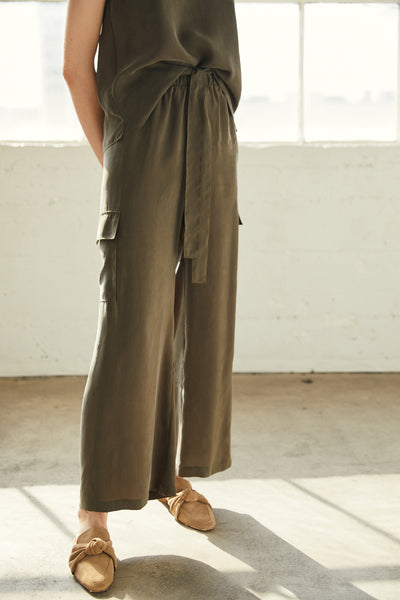 Cargo pant 100% Washed Cupro Army