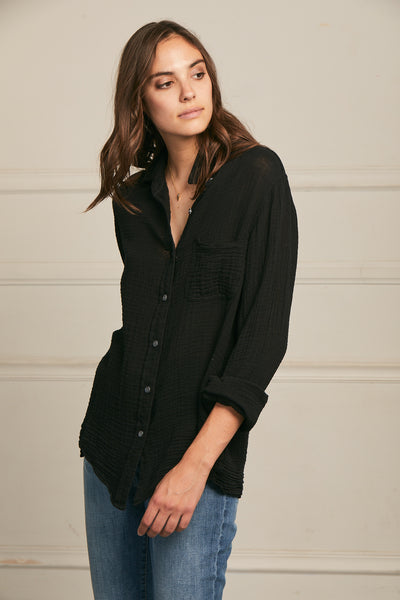 Boyfriend Top Cotton Gauze - Black