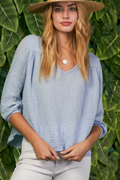Venice Top Gauze - Faded Denim
