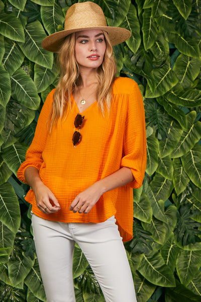 Venice Top Cotton Gauze - Tangerine