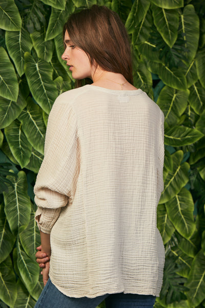 Dolman Top  Gauze Birch
