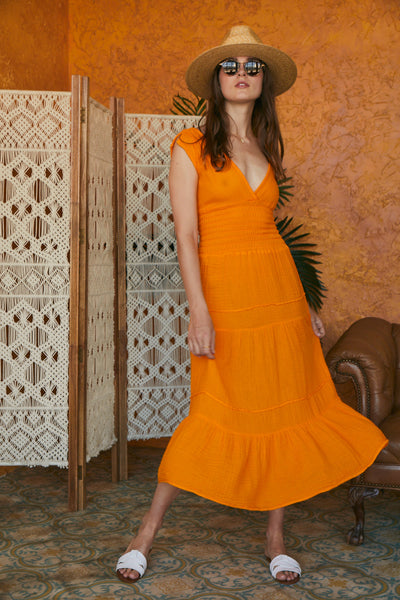 Smocked Dress Gauze - Tangerine