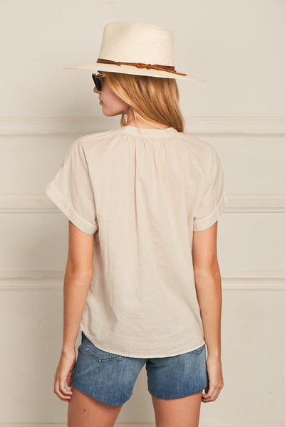 Short Sleeve Top Cotton- Flint