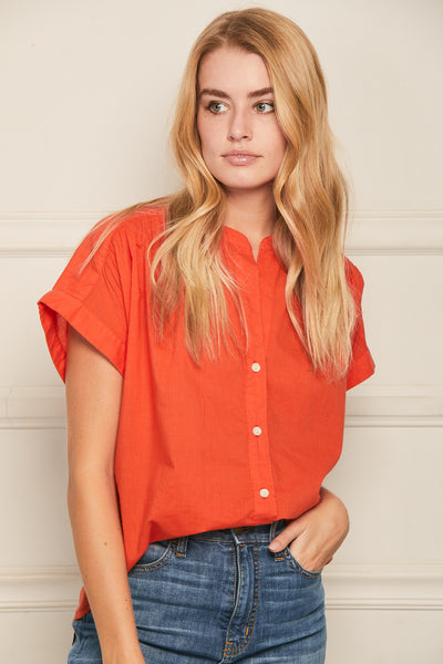 Short Sleeve Top Cotton- Tomato