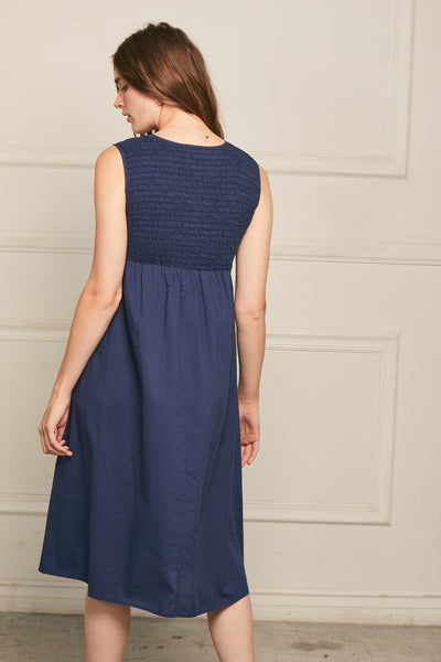 Easter Dress Cotton - Navy