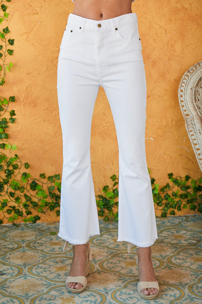 Cropped Flair Pant Twill - White