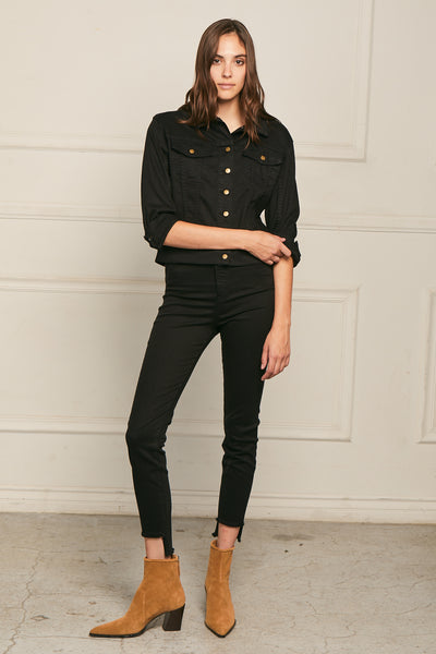 Cropped Skinny Pant Twill - Black