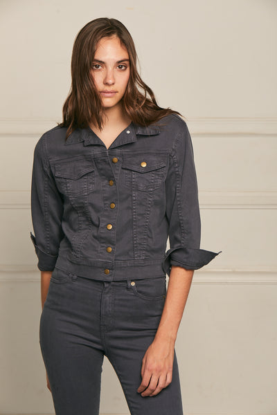 Cropped Jacket Twill - Carbon