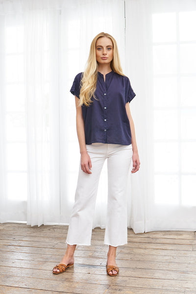 Short Sleeve Top French Cotton - Navy