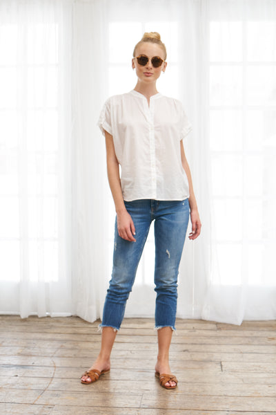 Short Sleeve Top Cotton- White