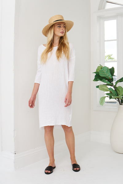 Boat Neck Dress Cotton Gauze - White