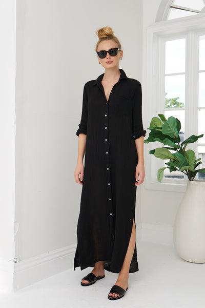 Boyfriend Maxi Dress Cotton Gauze - Black