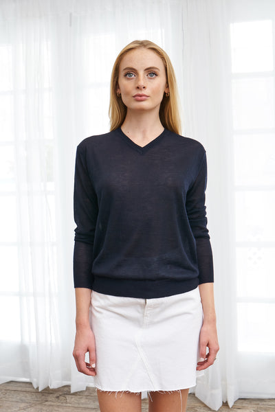 Shrunken V Neck Sweater Tissue Cashmere - Navy