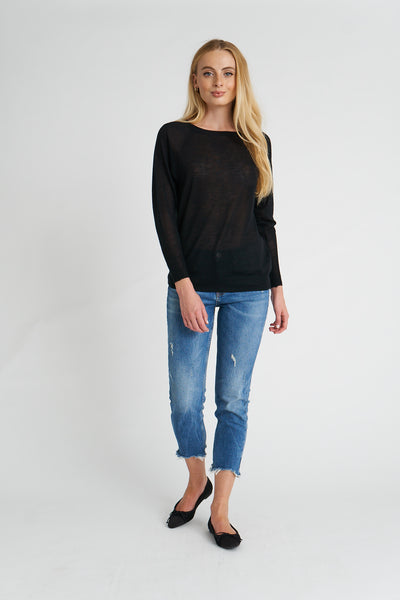 Boat Neck Sweater Tissue Cashmere - Black