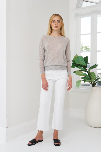 Boat Neck Tissue Cashmere -  Light Grey