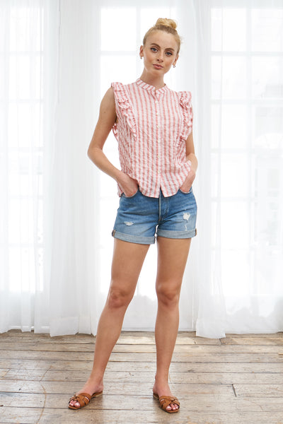 Ruffle Top Japanese Cotton Silk - Red Stripe