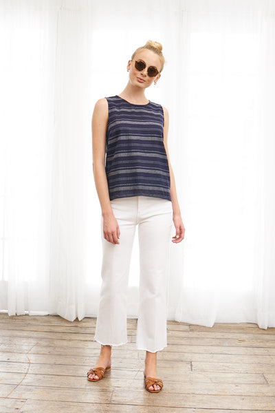 Shell Top Stripe Cotton Rami- Navy Stripe
