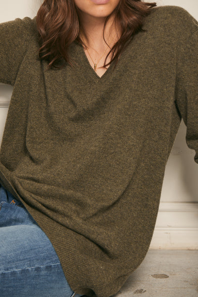 Boyfriend V Neck Sweater  - Hunter
