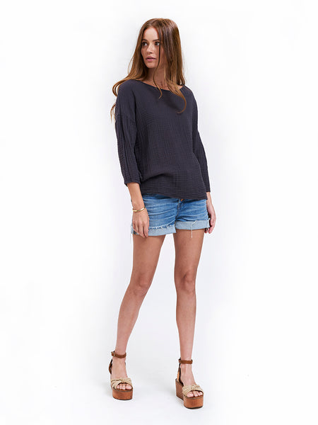 Off Shoulder Gauze Top - Carbon