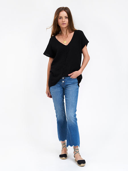 V Neck Top Gauze- Black