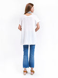 V Neck Top Cotton Gauze - White