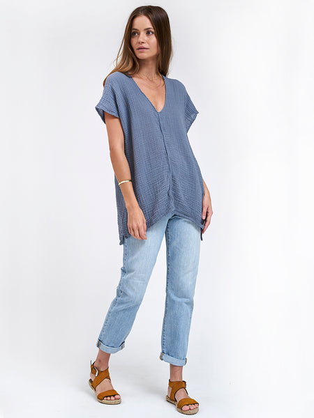 V Neck Top Gauze - Dark Waters