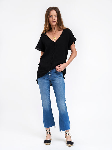 V Neck Top Cotton Gauze - Black