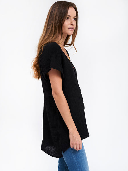 V Neck Top Gauze - Black