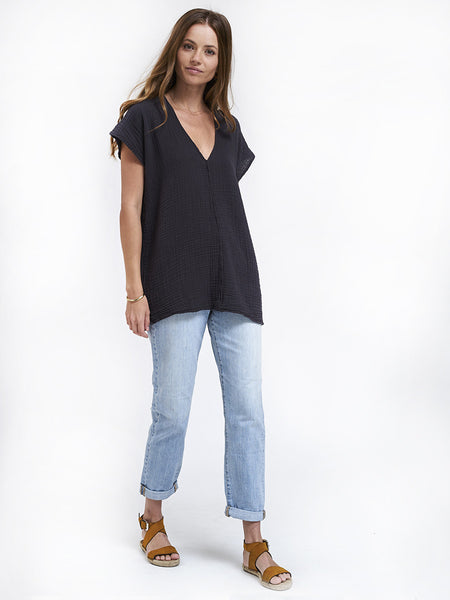 V Neck Top Gauze - Carbon