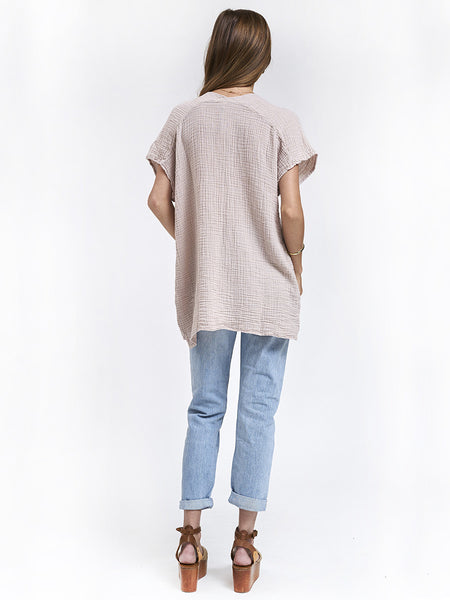 V Neck Top Gauze- Flint