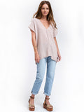 V Neck Top Cotton Gauze - Flint