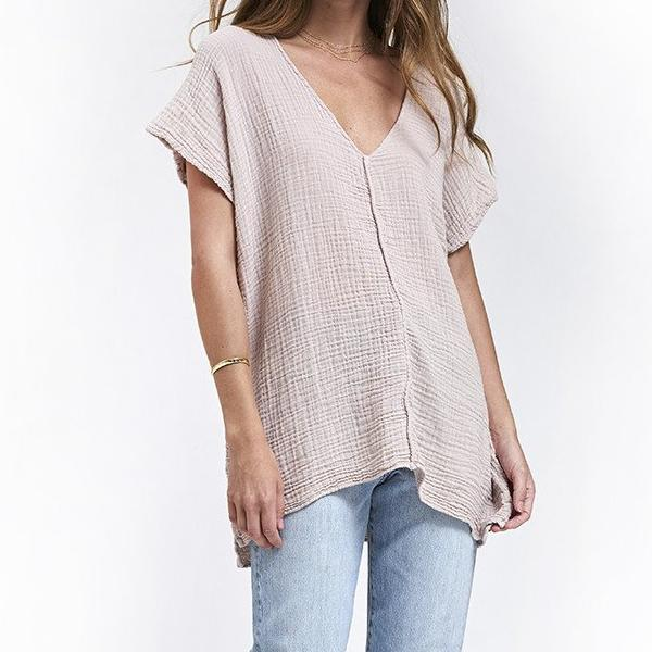 V Neck Top Gauze - Birch