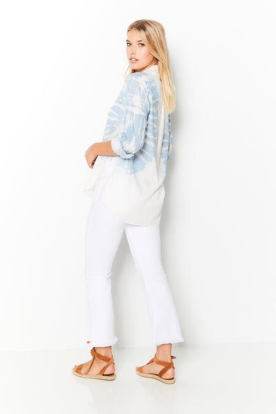 Boyfriend Shirt Tye Dye Denim  - Light Wash