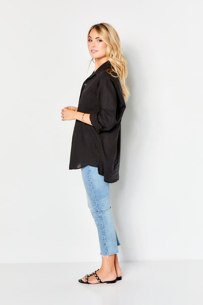 Boyfriend Top French Cotton - Black