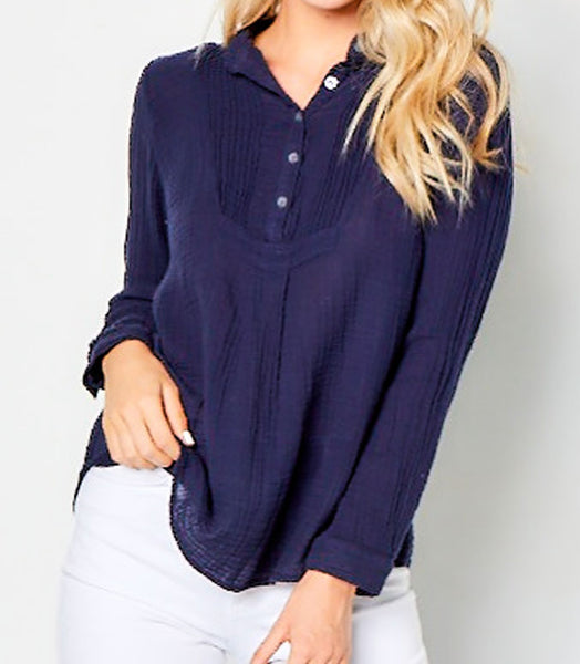 Pintuck Top Gauze -  Navy