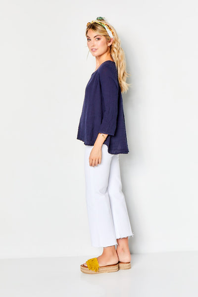 Venice Top Cotton Gauze - Navy