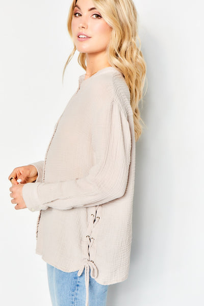 Side Lace Tunic Cotton Gauze - Flint