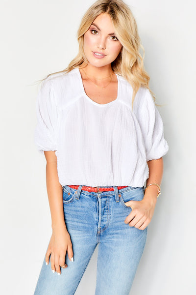 Peasant Top Gauze - White