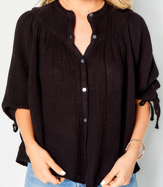 Tie Top Cotton Gauze - Black