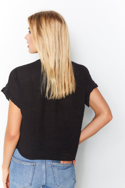 Short Sleeve Top Cotton Gauze - Black