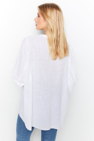Dolman Top Gauze White