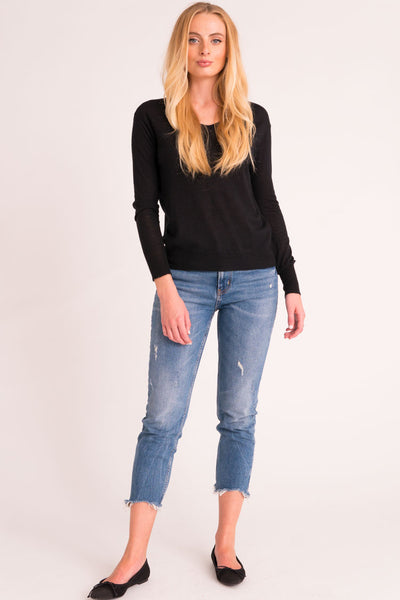 Shrunken V Neck Sweater Tissue Cashmere - Black