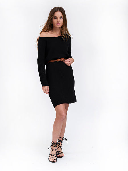 Boat Neck Dress Cotton Gauze - Black
