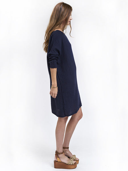 Boat Neck Dress Cotton Gauze - Navy