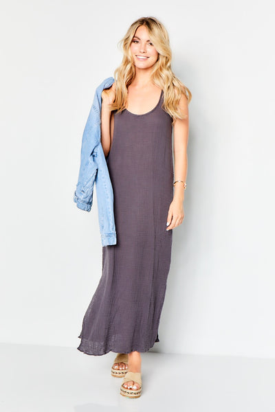 Racer Tank Maxi Dress  - Carbon