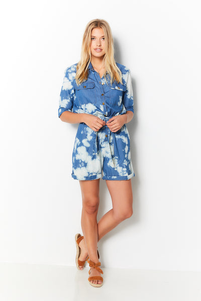 Romper Denim - Bleach Tye Dye